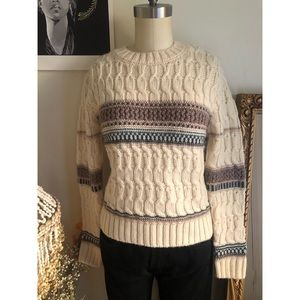 & Other Stories cable knit crewneck wool sweater